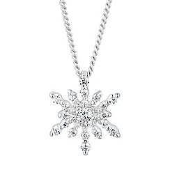 Simply Silver - Sterling silver cubic zirconia starburst necklace