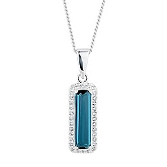 Simply Silver - Sterling silver blue cubic zirconia rectangle pendant necklace