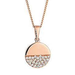 Simply Silver - Rose gold plated sterling silver pave disc pendant necklace