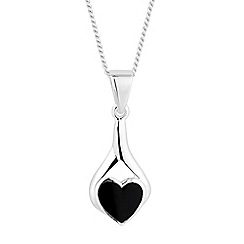 Simply Silver - Sterling silver onyx heart twist pendant necklace