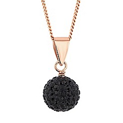 Simply Silver - Rose gold plated sterling silver jet pave ball necklace