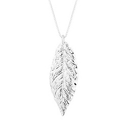 Simply Silver - Sterling silver textured leaf long necklace