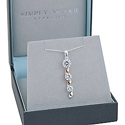 Simply Silver - Sterling silver two tone cubic zirconia swirl pendant necklace