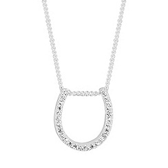 Simply Silver - Sterling silver pave horse shoe necklace