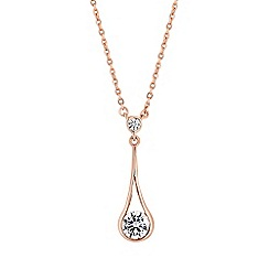Simply Silver - Rose gold plated sterling silver teardrop necklace