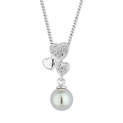 Simply Silver - Sterling silver heart and pearl drop necklace