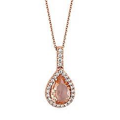 Simply Silver - Rose gold plated sterling silver peardrop necklace