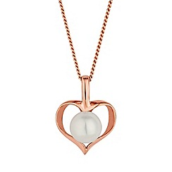 Simply Silver - Rose gold plated sterling silver heart necklace