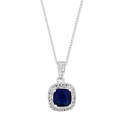 Simply Silver - Sterling silver blue square clara necklace