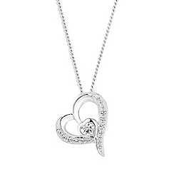 Simply Silver - Sterling silver pave heart pendant necklace