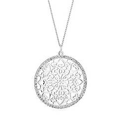 Simply Silver - Sterling silver pave filigree disc necklace