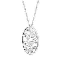 Simply Silver - Sterling silver heart filigree necklace