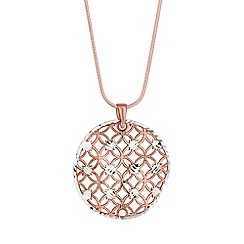 Simply Silver - Rose gold plated sterling silver disc necklace