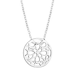 Simply Silver - Sterling silver mini filigree disc necklace