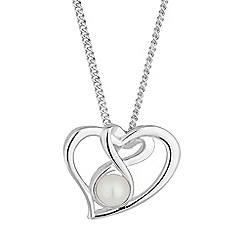 Simply Silver - Sterling silver open heart pearl necklace