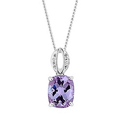 Simply Silver - Sterling silver purple oval drop necklace