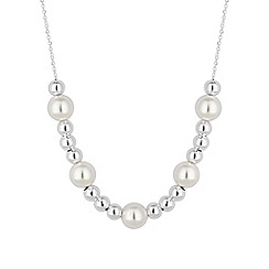 Simply Silver - Sterling silver pearl and bead allway necklace