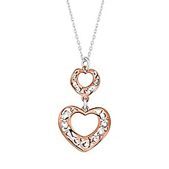 Simply Silver - Sterling silver filigree heart drop necklace