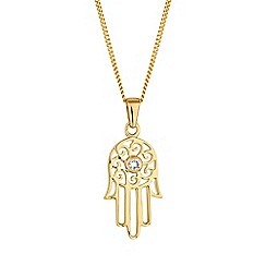 Simply Silver - Gold plated sterling silver hamsa hand necklace
