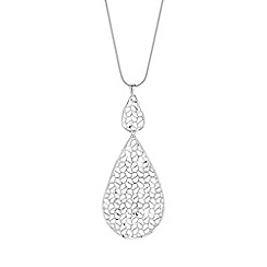 Simply Silver - Sterling silver filigree teardrop long necklace