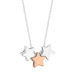 Simply Silver - Sterling silver two tone star necklace