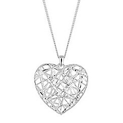 Simply Silver - Sterling silver wire heart necklace