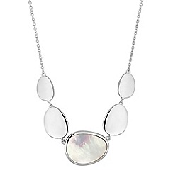 Simply Silver - Sterling silver mother of pearl pebble necklace