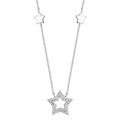 Simply Silver - Sterling silver pave star necklace