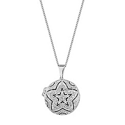 Simply Silver - Sterling silver pave star locket necklace