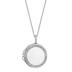 Simply Silver - Sterling silver pave locket necklace