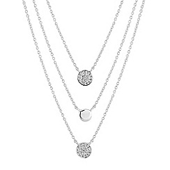 Simply Silver - Sterling silver pave disc multi row necklace