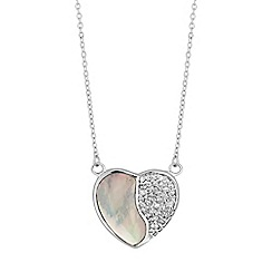 Simply Silver - Sterling silver pave heart necklace