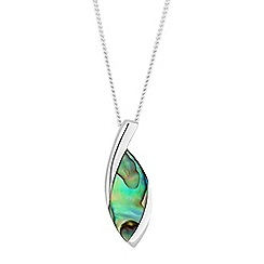 Simply Silver - Sterling silver abalone pendant necklace