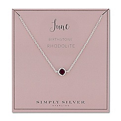 Simply Silver - Sterling silver june rhodolite birthstone necklace