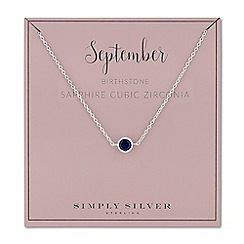 Simply Silver - Sterling silver september sapphire cubic zirconia birthstone necklace