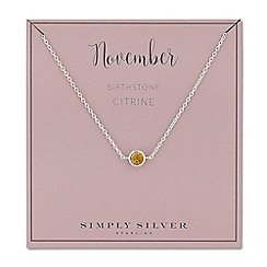 Simply Silver - Sterling silver november citrine birthstone necklace