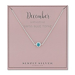 Simply Silver - Sterling silver december blue topaz birthstone necklace