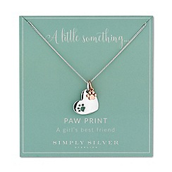 Simply Silver - Sterling silver heart and paw charm necklace