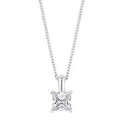 Simply Silver - Sterling silver square cubic zirconia necklace