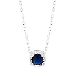 Simply Silver - Sterling silver square halo pendant necklace