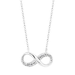Simply Silver - Sterling silver pave infinity necklace