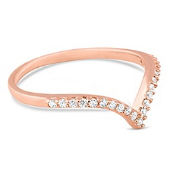 Simply Silver - Rose gold plated sterling silver wishbone ring