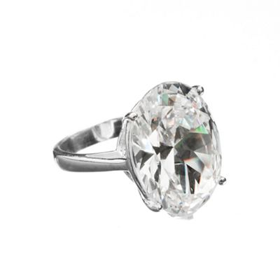 Simply Silver Sterling Silver Cubic Zirconia Oval Statement Ring product image