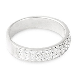 Simply Silver - Narrow sterling silver pave crystal  band ring