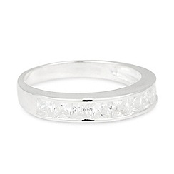 Simply Silver - Cubic zirconia crystal encased sterling silver band ring