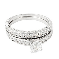 Simply Silver - Sterling silver and pave cubic zirconia wedding ring set