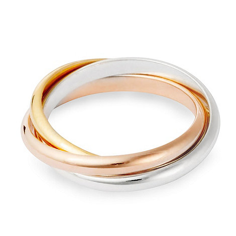 Simply Silver - Sterling silver tri tone linked band ring