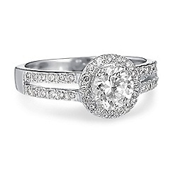 Simply Silver - Sterling silver cubic zirconia halo ring