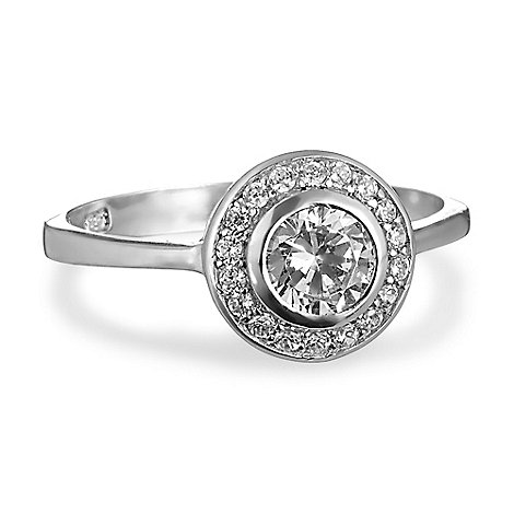 Simply Silver - Cubic zirconia halo sterling silver ring