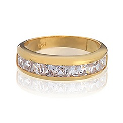 Simply Silver - Sterling silver gold plated channel set ring